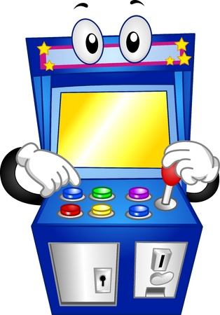 arcade games: Mascot Illustration of an Arcade Game Pushing its Buttons