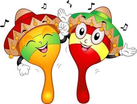 sombrero de charro: Ilustración de la mascota de un par de maracas vestidos con trajes mexicanos