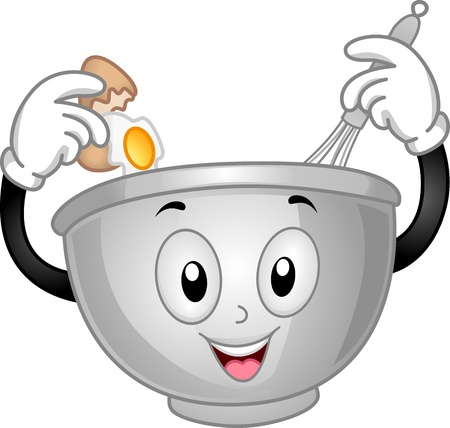 mixing: Mascot Illustration of a Mixing Bowl Cracking an Egg and Pouring it on Him Stock Photo