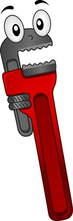 hand wrench: Mascot Illustration of a Pipe Wrench with a Surprise Look on its Face