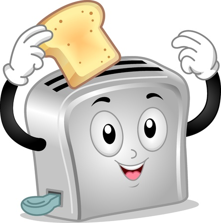 toasted bread: Mascot Illustration of a Toaster Holding a Toasted Bread