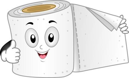 papel higienico: Ilustraci�n de una mascota de papel higi�nico dando un pulgar hacia arriba