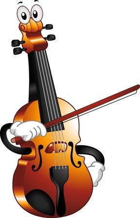 blaasinstrument: Mascot Illustratie van een Viool Holding a Bow tegen zichzelf