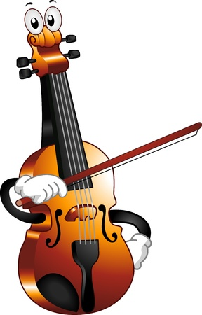cartoon mascot: Mascot Illustration of a Violin Holding a Bow Against Himself