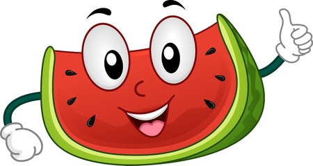 mascots: Illustration of a Beaming Watermelon Giving a Thumbs Up