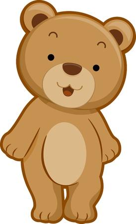 oso caricatura: Ilustración que ofrece la vista frontal de un oso sonriente