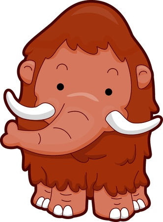 Illustration Featuring the Front View of a Cute Wooly Mammoth