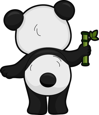 giant panda: Illustration Featuring the Back View of a Giant Panda
