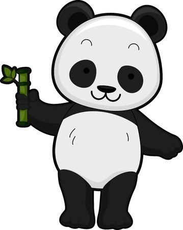 featuring: Illustration Featuring the Front View of a Giant Panda Holding a Bamboo Shoot Stock Photo