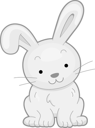 cuddly: Illustration Featuring the Front View of a Smiling Rabbit