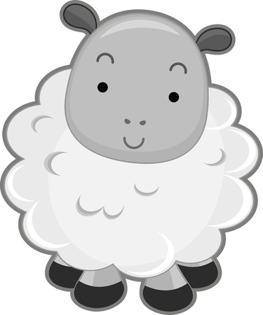 Illustration Featuring the Front View of a Smiling Sheep illustration