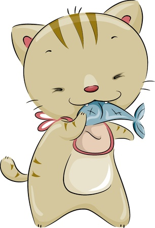cat eating: Illustration of a Cute Cat Wearing a Bib While Eating Fish