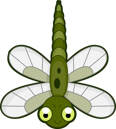 cartoon insect: Illustration of a Green Dragonfly in Mid-flight Stock Photo