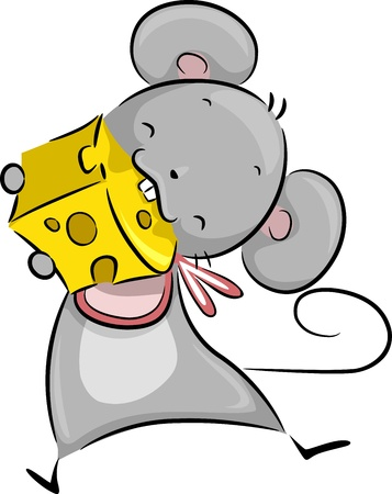 nibble: Illustration of a Mouse Happily Nibbling on a Chunk of Cheese