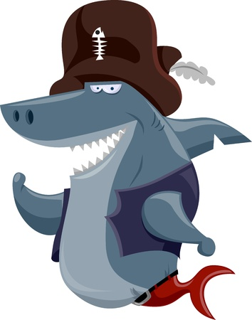 Illustration Featuring a Shark Dressed in a Pirate Costume illustration