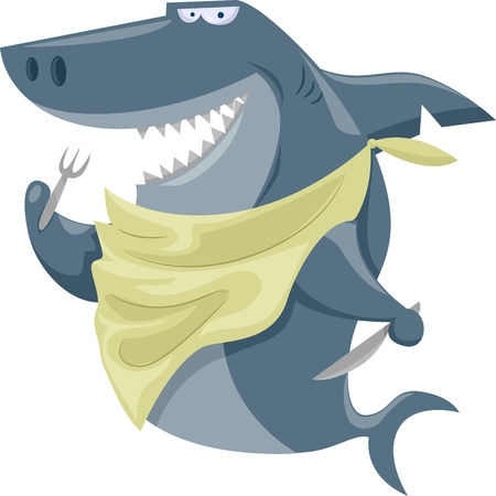 shark cartoon: Illustration Featuring a Shark Wearing a Bib and Holding a Fork and a Knife