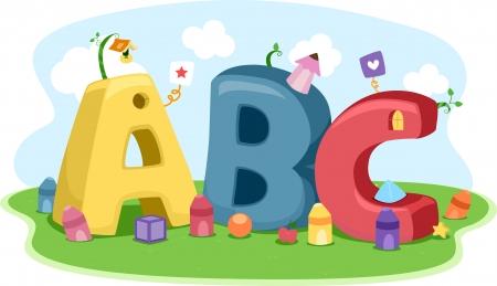 Ilustraci�n que ofrece diferentes formas, colores y letras del alfabeto Foto de archivo - 15590879
