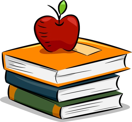 apple cartoon: Illustration of an Apple Resting on a Pile of Books
