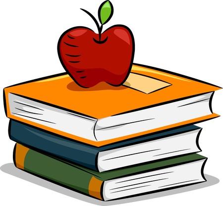 libro caricatura: Ilustraci�n de un Apple Descansando en una pila de libros