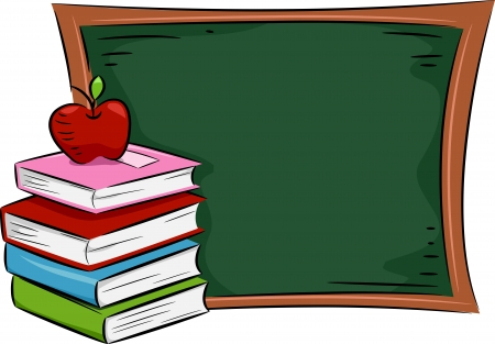 reference: Illustration of an Apple Resting on a Pile of Books Placed Near a Blackboard