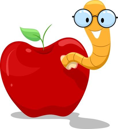 manzana caricatura: Ilustración de un gusano Nerdy saliendo de una manzana Foto de archivo