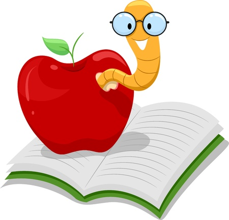 Illustration of a Nerdy Worm Crawling Out of an Apple Resting on a Book illustration