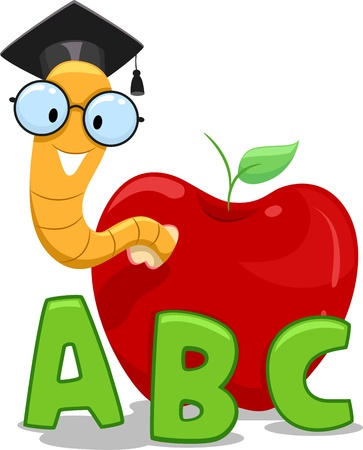 fruit worm: Illustration of a Nerdy Worm Wearing a Graduation Cap Crawling Out of an Apple
