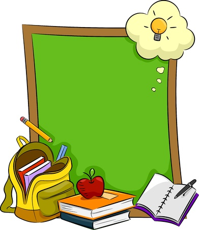 educational materials: Illustration of Books, Stationery, and Other Educational Materials Lying in Front of a Blank Board Stock Photo