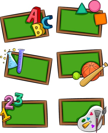 Illustration of Blackboards with Letters of the Alphabet, Geometric Shapes, Laboratory Tools, Sporting Materials, and Painting Materials Placed Beside Them illustration