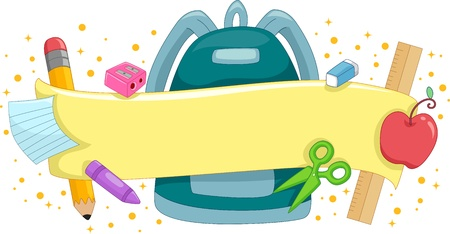 school backpack: Banner Illustration Featuring a Schoolbag Surrounded by School Supplies