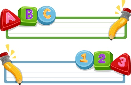 numbers clipart: Banner Illustration Featuring Numbers and Letters of the Alphabet Stock Photo