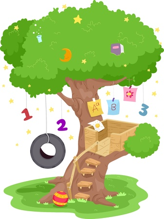 Illustration of a Treehouse With Numbers and Letters of the Alphabet Hanging from its Branches illustration