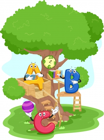hanging out: Illustration of Alphabet Mascots Hanging Out in a Treehouse