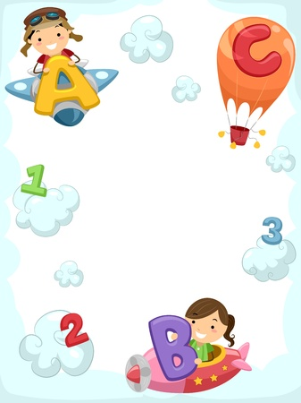cartoon math: Illustration of Kids Riding Planes Carrying Letters of the Alphabet