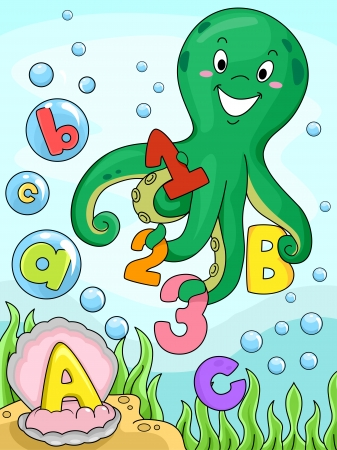 cartoon school: Illustration of An Octopus Collecting Numbers and Letters of the Alphabet