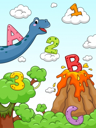 cartoon volcano: Illustration of Numbers and Letters of the Alphabet Drawn Against a Background with a Prehistoric Design