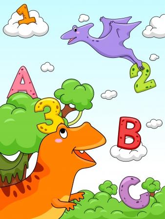 Ilustraci�n de los n�meros y las letras del alfabeto dibujado sobre un fondo con un dise�o prehist�rico photo