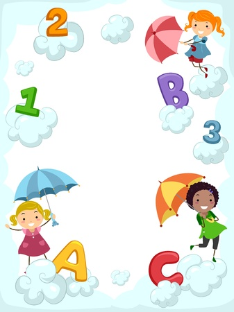 Illustration of Kids Carrying Umbrellas Dancing Beside Clouds Supporting Letters of the Alphabet illustration