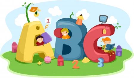 bambini che giocano: Illustrazione di bambini che giocano con la lettera-a forma di Casette