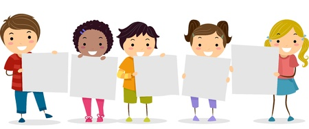 Illustration of Smiling Kids Holding Blank Boards illustration