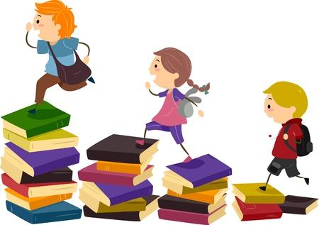 cartoon school girl: Ilustraci�n de los ni�os escolares usando pilas de libros como 'Stepping Stones'