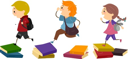 Illustration of School Kids Using Piles of Books as Stepping Stones Stock Photo