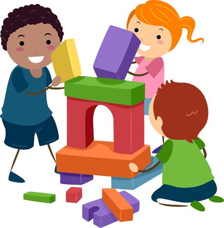 Illustration of Stick Kids Playing with Building Blocks Stock Photo