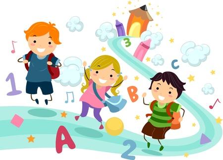 niños en la escuela: Ilustración de los niños del palillo Jugando con números y letras del alfabeto