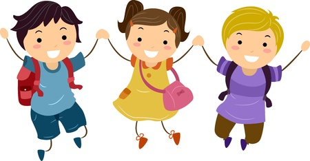 Illustration of Kids Jumping Together With Hands Clasped illustration