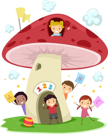 Illustration of KIds Playing Around a Mushroom-Shaped School illustration