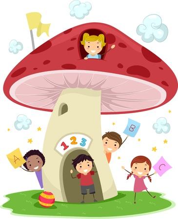 cartoon math: Illustration of KIds Playing Around a Mushroom-Shaped School Stock Photo