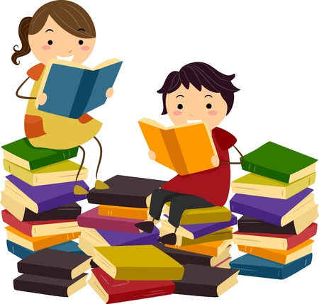 Illustration of Stick Kids Reading Books from Piles of Reading Materials illustration