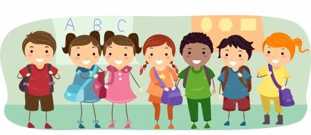 cartoon school girl: Ilustraci�n de ni�os de escuela prolijamente alineados en una fila Foto de archivo