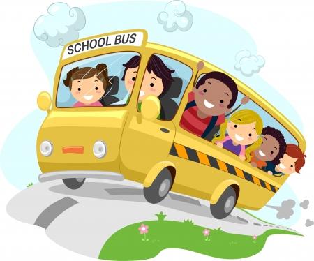 escuela caricatura: Ilustración de una escuela de equitación para niños Schoolbus Foto de archivo